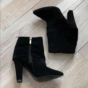 Vince Camuto Black Suede Pointed Heeled Booties